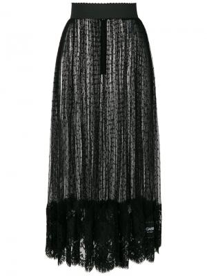 Прозрачная юбка с узором в горох Dolce & Gabbana. Цвет: чёрный