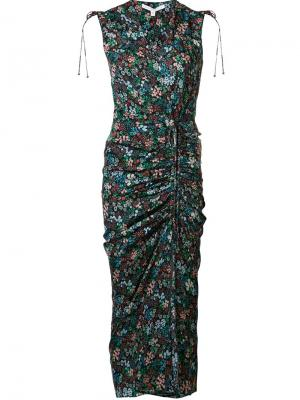Платье Teagan с цветочным принтом Veronica Beard. Цвет: чёрный
