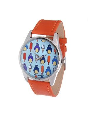 Часы Mitya Veselkov Пингвины и эскимо (оранжевый) Арт. Color-61. Цвет: оранжевый