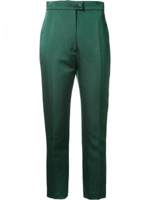 Укороченные строгие брюки Martin Grant. Цвет: зелёный