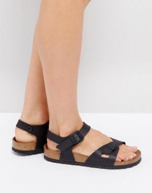 Birkenstock Черные сандалии Rio Flor. Цвет: черный