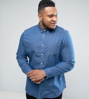ASOS Эластичная облегающая джинсовая рубашка PLUS. Цвет: синий