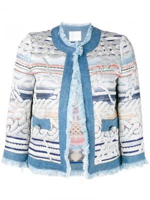 Пиджак с вышивкой и бахромой Giada Benincasa. Цвет: многоцветный