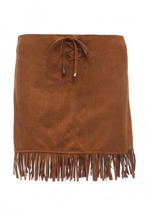 Юбка Moda Corazon. Цвет: коричневый