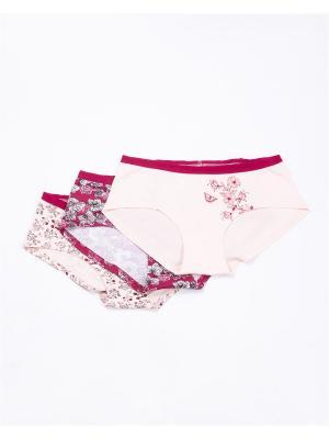 Трусы-шорты, 3 шт. Mark Formelle. Цвет: бордовый, белый, бледно-розовый