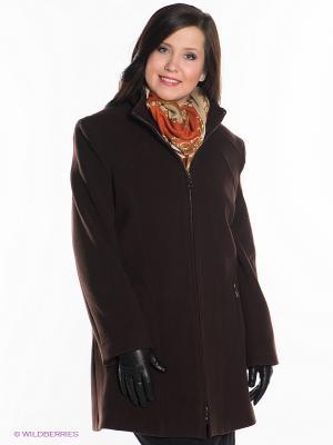 Пальто Gemko plus size. Цвет: темно-коричневый