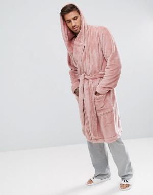 ASOS Халат из флиса с капюшоном. Цвет: розовый