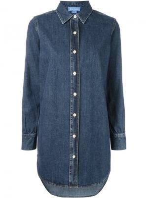 Свободная джинсовая рубашка Mih Jeans. Цвет: синий