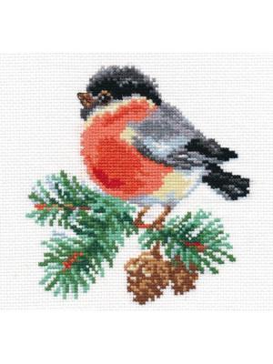 Набор для вышивания Снегирек  14х14 см Алиса. Цвет: красный, светло-желтый, светло-зеленый, светло-серый, серый, черный