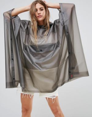 Hunter Прозрачный полиуретановый дождевик-пончо с карманом. Цвет: серый