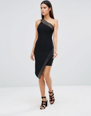 Rare Асимметричное платье мини с полосками из сеточки. Цвет: черный