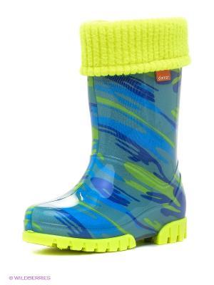 Резиновые сапоги DEMAR. Цвет: синий, зеленый, желтый