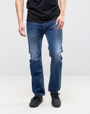 Diesel Темные выбеленные джинсы прямого кроя Waykee 679I. Цвет: синий