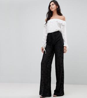 Glamorous Tall Широкие брюки с вышивкой. Цвет: черный