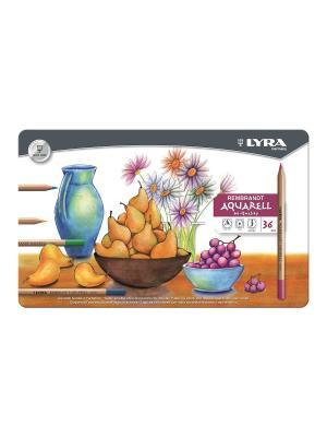 Rembrand aquarell художественные цветные карандаши в мет коробке 36 цв Lyra. Цвет: белый, оранжевый, черный