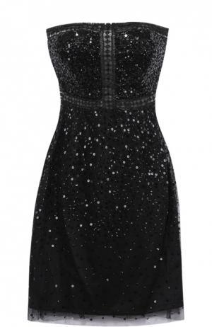 Платье-бюстье с пайетками и перфорацией Basix Black Label. Цвет: черный