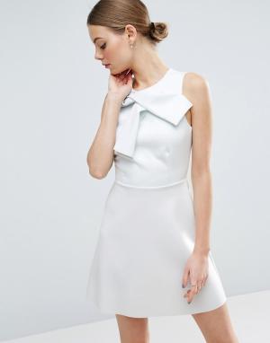ASOS Платье мини с юбкой-трапецией и бантом. Цвет: зеленый