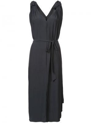 Приталенное платье с узлами на плечах Smythe. Цвет: чёрный