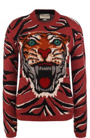 Шерстяной пуловер с круглым вырезом Gucci. Цвет: бордовый