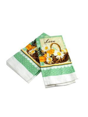 Набор кухонных полотенец из 2шт. Русские подарки. Цвет: бирюзовый, коричневый, оранжевый, белый
