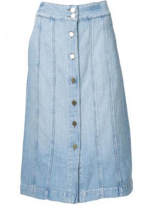 Джинсовая юбка Le Panel Frame Denim. Цвет: синий