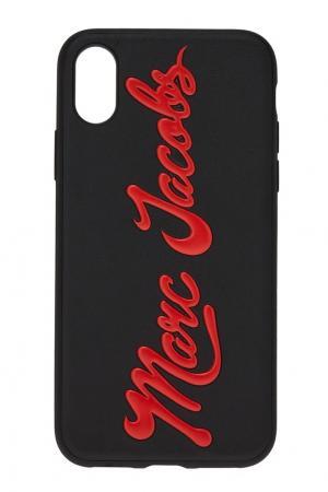 Черный чехол для iPhone X с логотипом Marc Jacobs. Цвет: черный