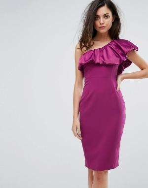 Vesper Платье-футляр с атласной оборкой на одно плечо. Цвет: красный