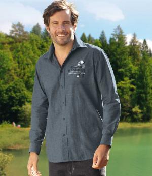 Рубашка из Ткани Шамбре AFM. Цвет: синии