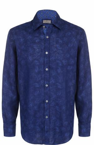 Льняная рубашка с принтом Canali. Цвет: темно-синий