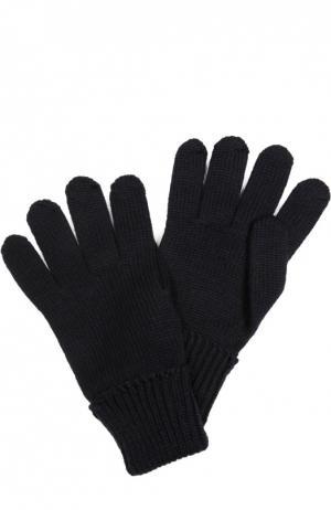 Вязаные перчатки из шерсти Il Trenino. Цвет: темно-синий