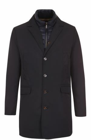 Однобортное пуховое пальто прямого кроя Moorer. Цвет: темно-синий