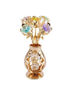 Фигурка декоративная Ваза с букетом CRYSTOCRAFT. Цвет: бледно-розовый, светло-желтый, прозрачный, золотистый, светло-зеленый, светло-голубой