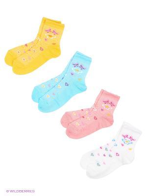 Носки, 4 пары Гамма. Цвет: белый, бирюзовый, коралловый, желтый