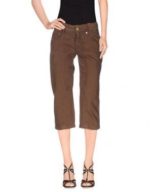 Джинсовые брюки-капри TRUST TOILETTE. Цвет: какао