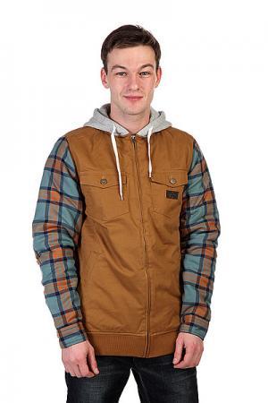 Куртка  Mandate Flzp Leather Brown Analog. Цвет: коричневый,синий