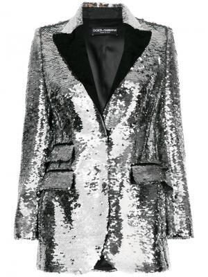 Блейзер с пайетками Dolce & Gabbana. Цвет: металлический