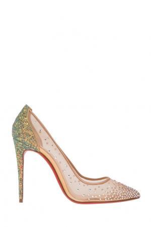 Туфли с кристаллами Follies Strass 100 Christian Louboutin. Цвет: желтый