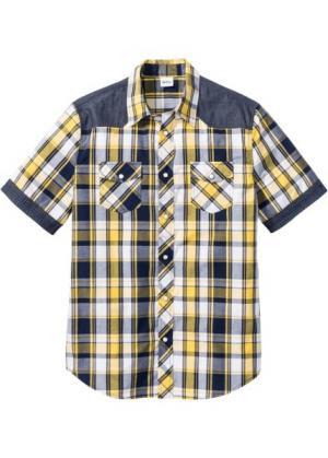 Рубашка стандартного покроя с коротким рукавом (желтый в клетку) bonprix. Цвет: желтый в клетку