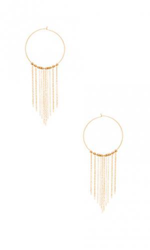Серьги cascade Mimi & Lu. Цвет: металлический золотой