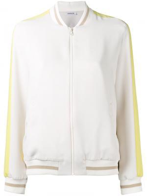Куртка бомбер с манжетами в полоску P.A.R.O.S.H.. Цвет: белый