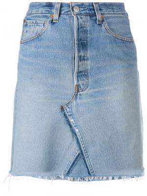 Короткая джинсовая юбка Re/Done. Цвет: синий