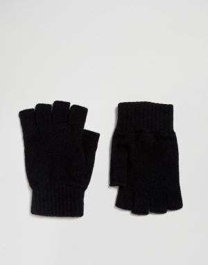 Glen Lossie Черные перчатки без пальцев из овечьей шерсти. Цвет: черный