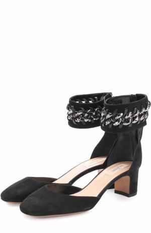 Замшевые туфли Metal Weave с ремешком на щиколотке Valentino. Цвет: черный