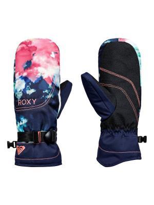 Варежки сноубордические ROXY. Цвет: темно-синий, лазурный, розовый