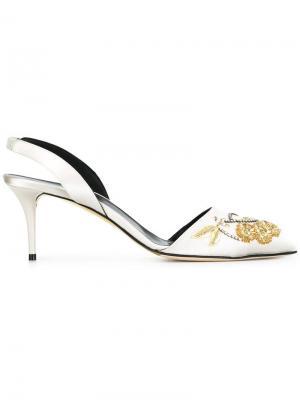 Туфли-лодочки с цветочной вышивкой Oscar de la Renta. Цвет: серый