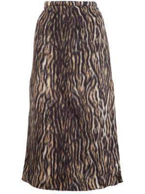 Юбка миди с леопардовым принтом Rochas. Цвет: коричневый