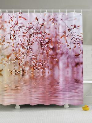 Фотоштора для ванной Закат на пляже, 180*200 см Magic Lady. Цвет: розовый, белый, сиреневый, черный