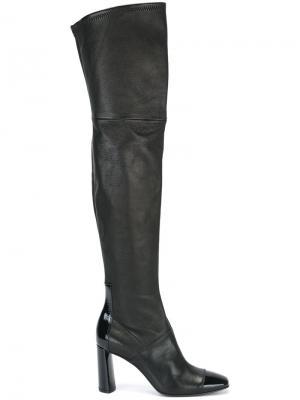 Ботфорты на каблуке Casadei. Цвет: чёрный
