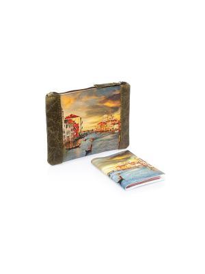 Комплект Венеция в зеленой коже(Косметичка Арт +обл.на паспорт) Eshemoda. Цвет: зеленый