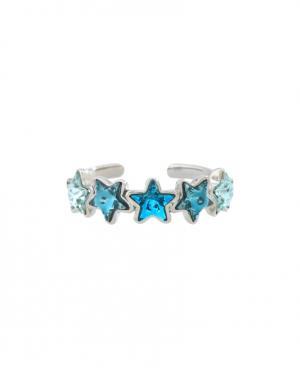 Кольцо из латуни с кристаллами Ca&Lou. Цвет: серебряный, голубой
